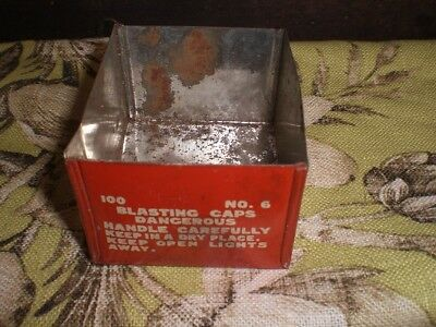 VINTAGE BLASTING CAP TIN BOX no lid vintage style words and charming wear