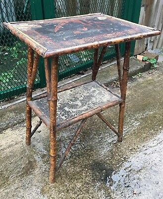 19th Century Bamboo Aesthetic Movement Side Table Shabby Chic