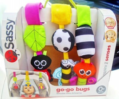 Baby Child Kid Sassy Soft Rattles Set On the Go Go Bugs Stroller Toy