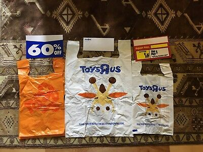 Vintage Toys R Us Going out of business store pack Bags Envelopes signs ToysRus