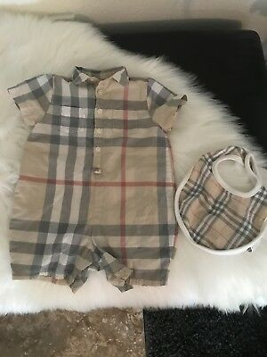 Burberry Baby Playsuit/Romper 6 Months with Bib Included