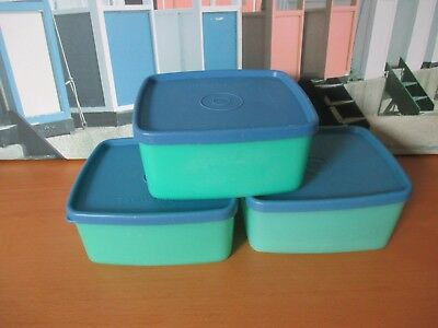 TUPPERWARE  SQUARE ROUNDS WITH LIDS X 3   (lot 1)