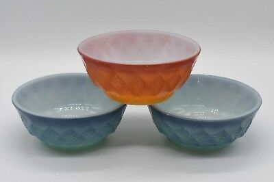"""3 Vtg KIMBERLY Diamond Anchor Hocking Fire King Blue Red 5"""" Cereal Bowls"""