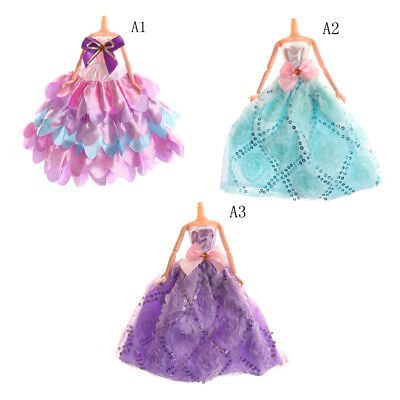 Handmade Elegant Floral Doll Clothes Wedding Dress For  Doll Party Gown Pl