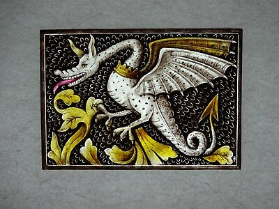 Beautiful Stained glass.DRAGON.Hand painted.Kiln fired.170x120mm.Antique style.
