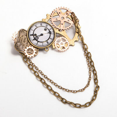 Vintage Victorian Steampunk Brooch Breastpin Retro Gear Clock Pattern Lapel Pin