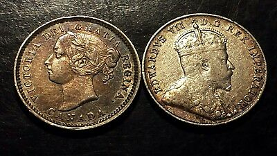 1888 And 1910 ..canada Ten Cents Lot