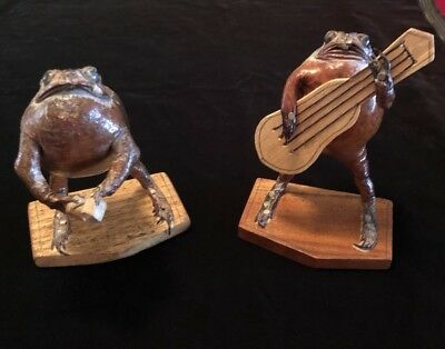 """Vintage Taxidermied Set of Frog Musicians 5.5"""" H"""