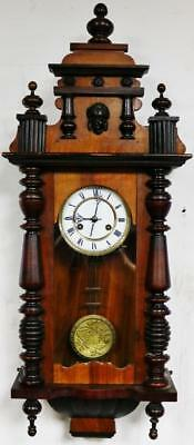 Antique German 8 Day Highly Carved Mahogany Gong Striking Vienna Wall Clock