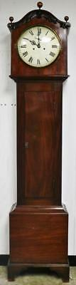 "Antique English 8Day Flame Mahogany 12"" Silvered Dial Longcase Grandfather Clock"