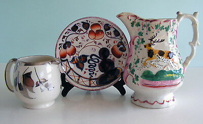 Three Staffordshire Lustreware Items ELK PITCHER ~ OYSTER DISH ~ CREAMER ~ AS IS