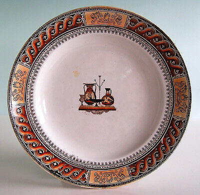 Staffordshire ~ ETRUSCAN VASES ~ Rust Brown Lustred Transferware Plate c1850