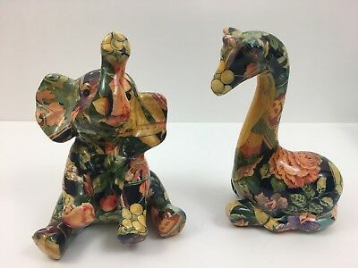 "Decoupage Patchwork Elephant & Giraffe 7"" Figurines - Vegetables Floral"