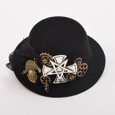 Steampunk Hair Clip Hairpin Headwear Mini Top Hat Gear Women Victorian Cosplay