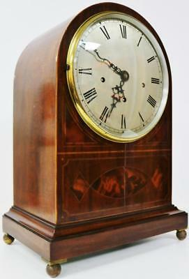 Antique English 8 Day Flame Mahogany Musical Westminster Chimes Bracket Clock