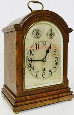 Antique German Solid Oak Musical Westminster Chime Striking Mantel Bracket Clock