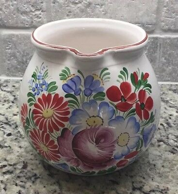 Vintage Hand-painted Floral Pitcher.  White with Flowers.