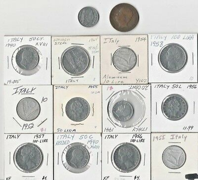Italy. Assorted Vintage  Lot Of 14 Italian Coins. See Pics.
