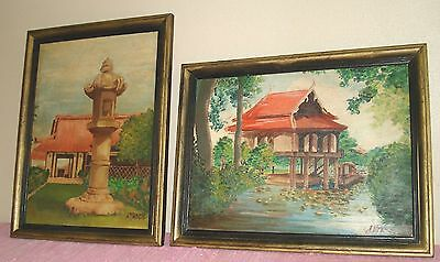 Pair of early signed A. Vance Framed Asian Architectural oil Paintings