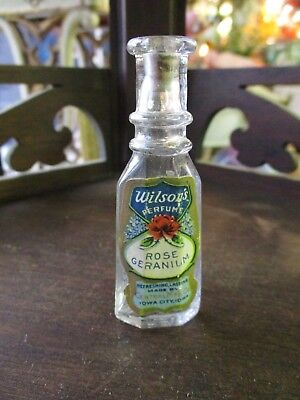Wilsons Victorian Glass Perfume Bottle W/ Paper Label Central Mfg Rose Geranium