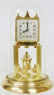 Rare Antique German 400 Day Anniversary Torsion Mantle Clock Under Glass Dome