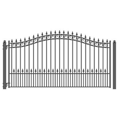 ALEKO Prague Style Ornamental Iron Wrought Single Swing 16' Driveway Gate