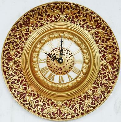 Antique Solid Gilded Bronze Highly Embossed Dial Wall Clock With Quartz Movement