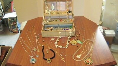 Large Lot Of 54 Pcs. Of Vintage Jewelry And The Box From A Local Estate