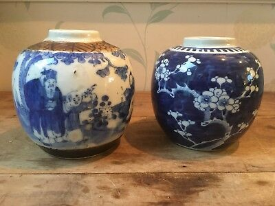 Pair 19THC Chia Ching monks Chinese blue white ginger jar vase prunus Kangxi