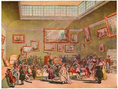 Christie's Auction Room - Thomas Rowlandson - 1935 Vintage Print - Paintings