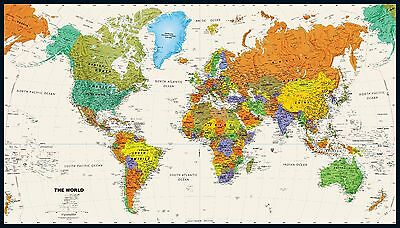 """World Wall Map Colorful Contemporary Poster 28.5"""" x 50"""""""