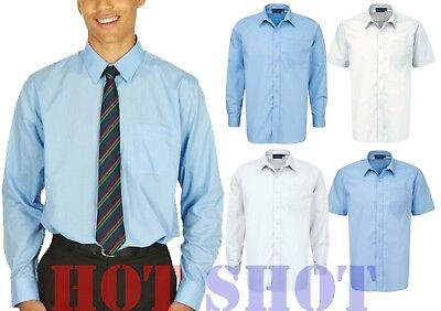 Mens Boys Kids Adults Long & Short Sleeve School Uniform White & Blue Shirts