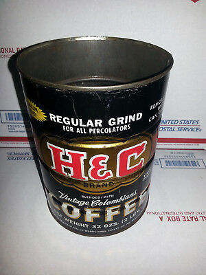 VINTAGE H & C BRAND COFFEE CAN By Wood Bros Coffee Co Roanoke, Va 2LB CAN
