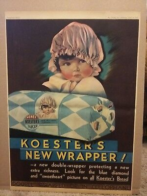 1934 Koester's Honey Sliced Bread New Wrapper Full Page Newspaper ad Poster Size