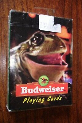 Vintage BUDWEISER Bull Frog Playing Cards sealed package 1996 Made in USA