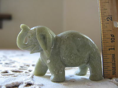 Vintage Collectible Natural Stone Miniature Elephant Grey Carved Figurine China