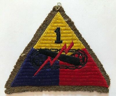 WWII US Army Military 1st First Armored Division Blackback Wool Woolie Patch