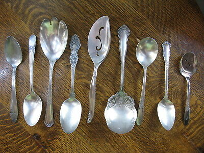 Vintage Lot Silverplate Flatware Serving Pieces x9 Rogers King Edward Carelton