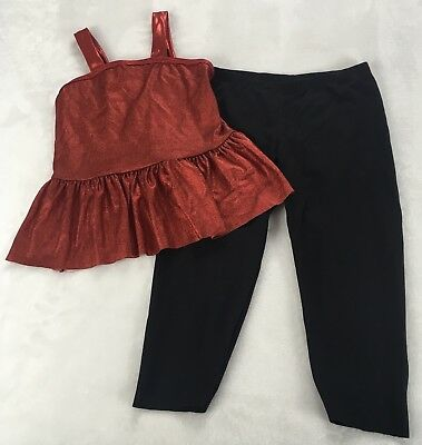 Curtain Call Costumes Girls Size CME Dancewear Red Top & Black Capri Pants Jazz