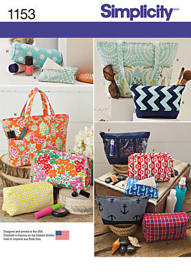 Simplicity Sewing Pattern Bags Makeup/Toiletry 1153 OS
