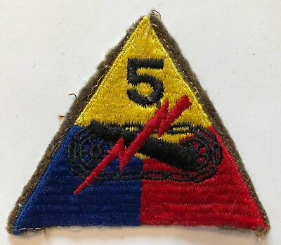 WWII US Army Military 5th Armored Division Wool Woolie Patch
