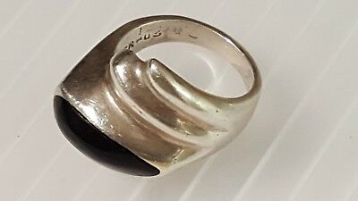 Vintage modernist era TAXCO MEXICAN 925 SOLID SILVER ONYX Ring ETHNIC 1950's