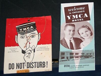 Vintage 1930's-40's CHICAGO YMCA 'Do Not Disturb' Sign w/Brochure-Wabash Ave.