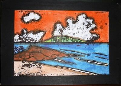 Dominican Dionisio Blanco Oil on Paper Landscape Painting 1977 Latin America