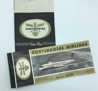 Vintage Continental Airlines 1963 Ticket Jacket Gate Pass Ticket PHX to LAX
