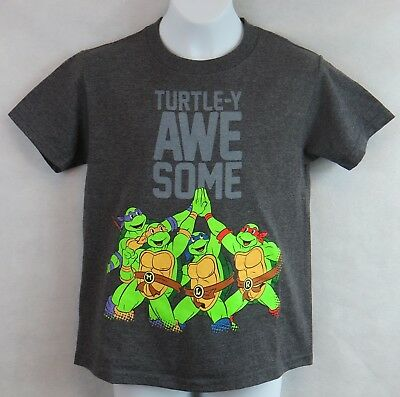 Ninja Turles Boys T-Shirt Officially Licensed Turtle-y Awesome Dark Gray New