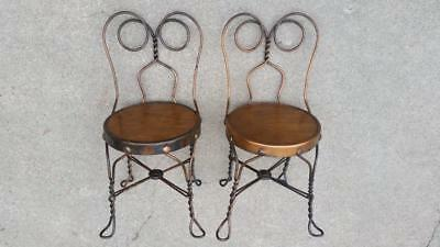(2) Antique Ice Cream Parlor Child's Chairs Copper Flashed Wrought Iron Frames