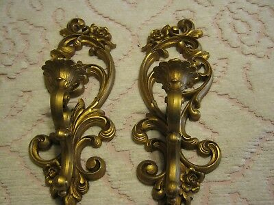Vintage 1971 Pair of Home Interior Homco Gold Wall Sconces