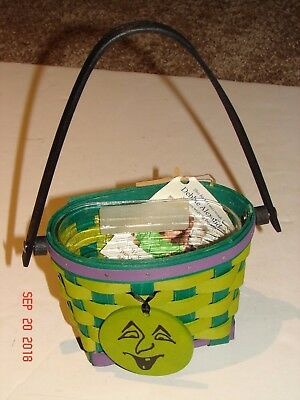 LONGABERGER Halloween WITCH / GHOULIE BASKET W/ TIE-ON Face W/ MAKER TAG