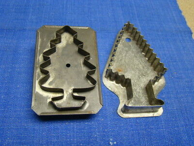 2 Antique Tin Cookie Cutters Original Early 1900s AAFA Christmas Trees